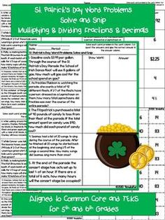 St. Patrick's Day Word Problems Solve and Snip- 5th & 6th Grade- Multiplying and Dividing with Fractions and Decimals