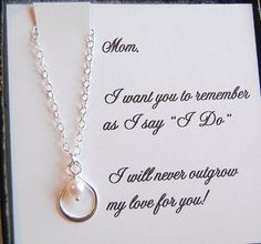 Mother of the Bride card with silver infinity pearl necklace,mother of bride gift, boxed gift set for Mom via Etsy