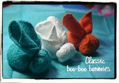"""Lines Across"": Being a Mother is Terrifying (Classic Boo-Boo Bunnies Tutorial and Teething Tip) ice cubes, booboo bunni, baby bunnies, towel, crochet crafts, easter bunny, craft ideas, kid, easter ideas"