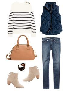 J.Crew striped sweater// J.Crew quilted vest (obsessed!) // AG skinny jeans  J.Crew leather bag // Design Darling tortoisesehell cuff // Marais ankle booties