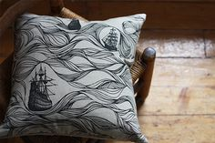 Black Ships Pillow. Hand screen printed / handmade by jennarosehandmade on Etsy. I need this, too!