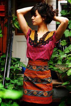 vintage print high waist skirt fall Supayana The colors.