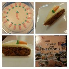 Tarta de zanahoria y nueces con cobertura de queso crema con thermomix