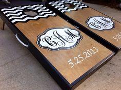 Half and Half Custom Chevron Monogram Cornhole Board Sets