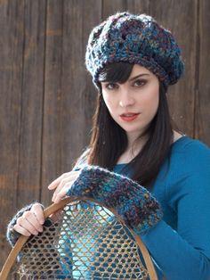 Beret and Fingerless Gloves | Yarn | Free Knitting Patterns | Crochet Patterns | Yarnspirations