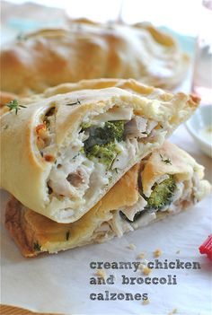 Creamy Chicken and Broccoli Calzones.