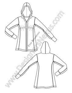 V3 Knit Hoodie Illustrator Fashion Technical Drawing - free download of this Adobe Illustrator fashion flat sketch template + More fashion technical drawing templates at www.designersnexus.com! #flatsketches #hoodie #fashiondesign #fashiontemplates #vector #fashionsketch