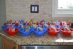 Fun cereal bowls at a Pancake and Pajama slumber party!  See more party ideas at CatchMyParty.com!