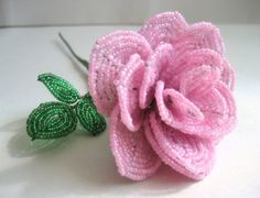 Pink  Rose  French Beaded Flower