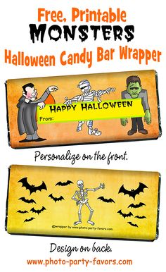 Free, Printable Halloween Monsters Candy Bar Wrappers - Give to trick ...