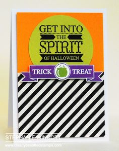 handmade Halloween card from Stamping & Sharing ... great design ... great colors for Halloween ... black and white ... orange and olive ... purple ... Clearly Besotted