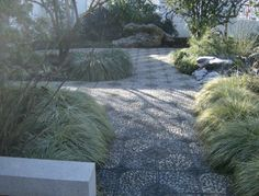 Portland classical Chinese garden with forest grass