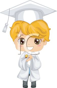 iCLIPART - Clip Art Illustration of a Kid Holding His Diploma at Graduation