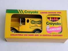 1993 Crayola Limited Edition 1903 Collectible Car Bank & 16 Crayola Fluorescent Crayons on Etsy, $20.00