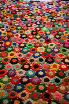 Vintage CROCHET MultiColor Granny Flower