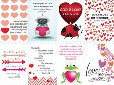 FREE Bible Verse Valentines  Can be used any time and can be used for a bulletin board