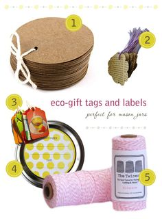 Eco gift tags and labels for gifts or favors.