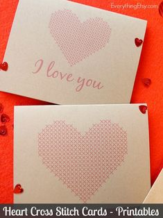 Heart Cross Stitch Cards – Free Printables - EverythingEtsy.com