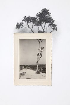 Drawing with Vintage Photo - Man Climbing Tree using a cropped photo, draw what is outside the frame