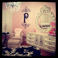 Pink, Black, and White Damask Nursery