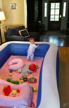 Instead of a playpen, why not a big inflatable pool that you can take outdoors and use again when the kids get bigger?