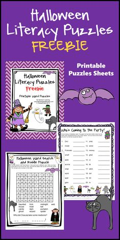 Halloween Literacy Puzzles FREEBIE gives you 2 Halloween word puzzles by Games 4 Learning.