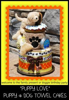 Puppy towel cake! How cute diaper cake, puppi towel, towel cakes, cake gift, dog