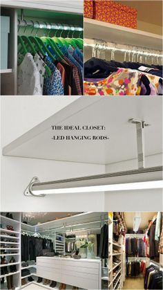 The ideal (and genius) solution for dark closets--illuminated LED hanging rods