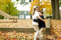 Brother and sister in the fall! How cute!