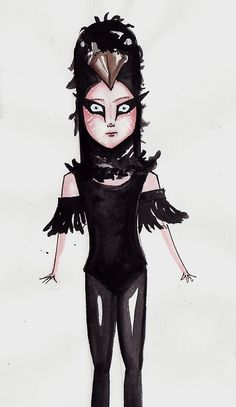 An illustration of Suzy's raven costume in Moonrise Kingdom. This is what I am going as at my Wes Anderson Party!