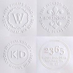 Embosser stamps for your return address.