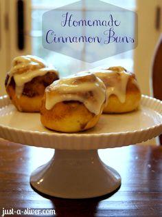 Homemade Cinnamon Buns http://just-a-sliver.com #cinnamonbuns #homemade #brunch