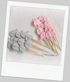 24 Grey and Light  Pink Elephants Party Picks by CreativeStudio69, $3.50