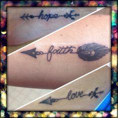 Sister tattoos anchor feather arrow faith hope love