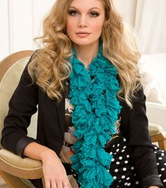 Pretty turquoise ruffle scarf!
