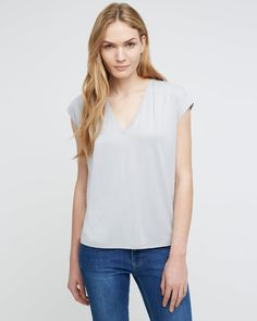 Pleat V-Neck Top