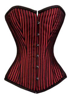 Red Striped Satin Corset