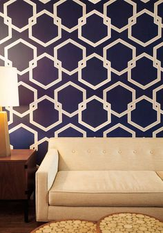 Oak Park Temporary Wallpaper in Blue, #ModCloth as accent wall