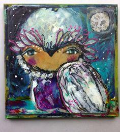 "In Time - an Original Mixed Media #owl Painting 7x7"" on Wood by Juliette Crane #juliettecrane"
