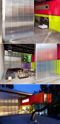 Decameron furniture store using discarded cargo containers. By Studio mk27.