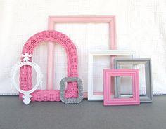 Pinks, Grey White Ornate Frames Set of 7 - Upcycled Painted Ornate OPEN Frames Girls or Nursery bedroom decor on Etsy, $53.00