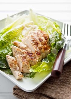 Dinner for Two: Grilled Chicken Caesar Salad. Recipe for an easy egg-free Caesar dressing recipe.