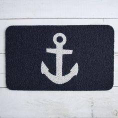 Navy anchor floor mat