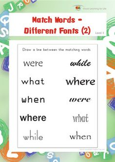 "In the ""Match Words-Different Fonts (2)"" worksheets, the student must recognize the matching words despite changes in their presentation (change in font).  Available at www.visuallearningforlife.com on the Visual Perceptual Skills Builder Level 2 CD."