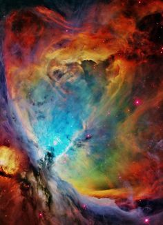 Orion Nebula. If the Orion Nebula was as close to earth as our nearest star (4 lightyears) it would cover the entire sky, so the only thing you'd be able to see is the sun rising and the Orion Nebula