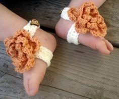 Handmade Crochet Barefoot Baby Sandals Orange by ButtonsandBrims, $11.99