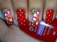 23 Amazing Nails polka dots, flower nails, red nails, beauti, nail design, flowers, uña, art nails, nail art