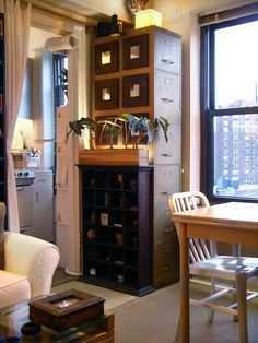 450 square foot rent stabilized studio apartment in Greenwich Village, NYC (lots of crafty ideas!) apart design, file cabinet, studio apartments, offic design, filing cabinets, work design, small spaces, storage ideas, small space solutions