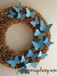 a wreath made from paper bags