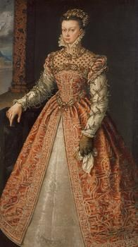 Elisabeth de Valois queen of Spain ARTIST Alonso Sanchez Coello DATE ca 1560, photo KHM Bilddatenbank Vienna. Note the lack of AGLETS at the front of her gown, the latter is open and shows the underskirt, an early portrait since she does not not wear Spanish style ie ropa and saya, CARCANET style belt , she wears one glove and carries a HANDKERCHIEF